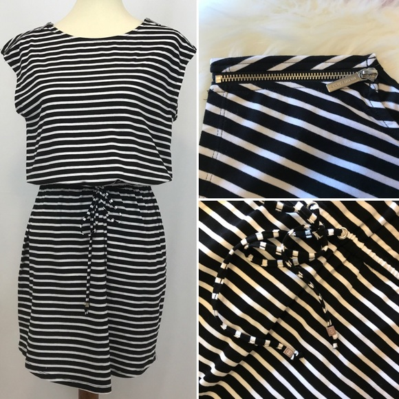 michael kors dresses blackwhite striped drawstring dress poshmark rh poshmark com